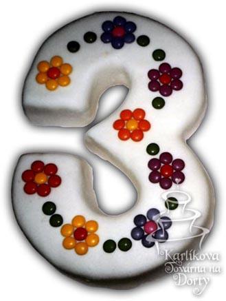 Narozeninové dorty – dort trojka kvítky n18